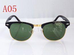 Wholesale Mens Designer Eye Glasses - 2017 Excellent Quality Fashion Designer Sunglasses Semi Rimless Sun Glasses For Mens Womens Gold Frame Green 51mm Glass Lenses With Cases