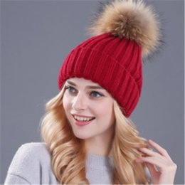 Wholesale Women S Sun Hats Wholesale - mink and fox fur ball cap pom poms winter hat for women girl 's hat knitted beanies cap brand new thick female cap