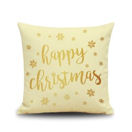 Wholesale Merry Christmas Green - Merry christmas holiday cushion cover gold color words elk greeting linen material vivid color healthy material breathable gift for friend