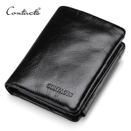 Wholesale Men Genuine Trifold Leather Wallet - Wholesale- CONTACT'S Men Wallet Design Men Trifold Wallets Fashion Purse Card Holder Wallet Man Genuine Leather With Zipper Coin Pockets