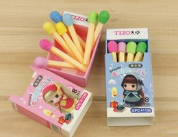Wholesale Mini Fruit Rubber - Wholesale-New Creative Cute The Selling Match Girl Mini Eraser   Rubber   Special Gift   Eraser Set   office and school supplier Wholesale