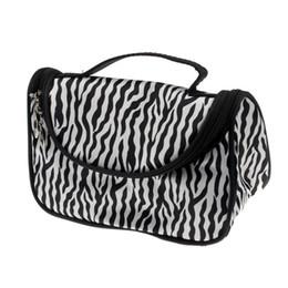 Wholesale zebra cosmetic - Wholesale- New Woman Cosmetic Bag Lady Travel Organizer Accessory Toiletry Zipper Zebra Make Up Bag Holder Storage Bag Makeup Case Handbag