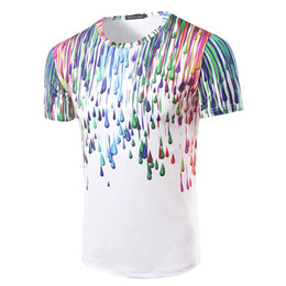2e4677852571 men tshirt raindrops water drops paint ink effect round neck 3D short  sleeve T shirt fashion clothing