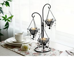 Wholesale Moroccan Candle Holders Wholesale - Moroccan Candlestick Metal Crystal Candlestick Wedding Centerpiece Candle Stand European Vintage Iron Candle Holder Home Decos