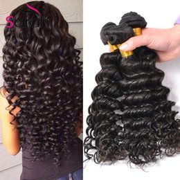 Wholesale Wholesale Hair Online - Brazilian Deep Wave Virgin Hair Brazilian Bundles 4pcs lot 100% Curly Virgin Hair Factory Selling Cheap Brazilian Hair Weave Online
