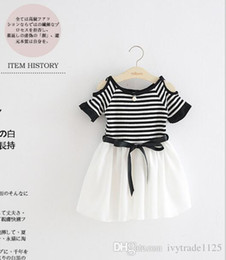 Wholesale Casual Off One Shoulder Dresses - Ins New Arrival Girl elegant patchwork dress 100% cotton off shoulder stripped chiffow patchowrk dress girl kids casual dress with one bead