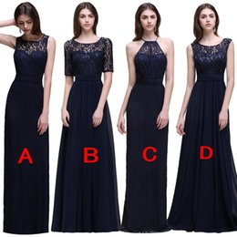 Wholesale Dress Mix Order - 2017 New Chiffon Floor Length Bridesmaid Dresses Mix Order Dark Nave Long Maid Of Honor Gowns Cheap Under 50 Long Prom Dresses Party Gowns