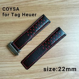 Wholesale Breitling Buckle - tag heuer Watchbands Black Brown Leather Watch Strap Band Genuine Soft Buckle Wrist Replacement Fits Mens Hombre 2017 22mm