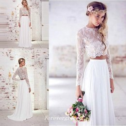 Wholesale Two Piece Dress Boho - Boho Lace Two Pieces Wedding Dress High Quality Long Sleeves Chiffon Beach Summer Women Wear Bridal Gown Custom Made Plus Size