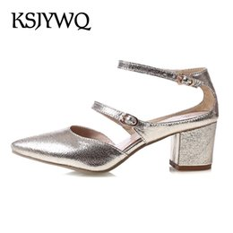 Wholesale Cheap Open Toe Heels - KSJYWQ Summer Style PU leather Shoes Pointed-toe Women Pumps 5 cm Chunky Heels Plus size 43 Cheap online store Box Packing 138