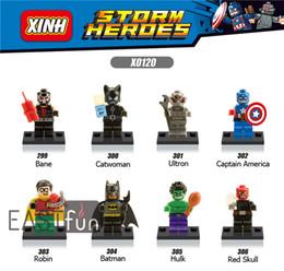 Wholesale Catwoman Action Figures - 8PCS Captain America Building Blocks Catwoman Mini Figures Hulk Super Heroes Avengers Figures Bricks Toy Action Figures Batman Marvel Blocks