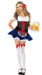 Wholesale Beer Maid Dress - Wholesale-German Bavarian Beer Garden Bar Serving Girl Oktoberfest Party Favors Halloween Fancy Dress Costume Beer Maid