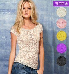 Wholesale Double Collar Shirt Women - Wholesale-Front double layer lace lace short-sleeve low collar breathable elastic top slim female t-shirt basic shirt 8 colors for choose