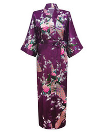 Wholesale Sexy Yukata - Wholesale- Purple Fashion Women's Peacock Long Kimono Bath Robe Nightgown Gown Yukata Bathrobe Sleepwear With Belt S M L XL XXL XXXL