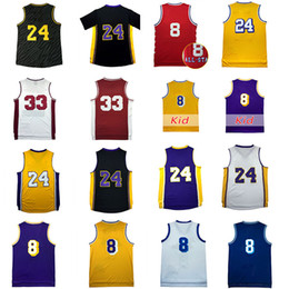 Wholesale Men S White Clothing - Wholesale 24 Kobe Bryant jersey 100% stitched all star 8# throwback Noche Latina basketball jerseys 33# high school clothes ships free