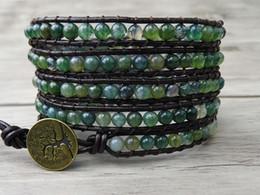 Wholesale Gift Wrap Stones - Leather Wrap Bracelet Ocean Grass Agate Natural Stone Beaded wrap Bracelet Yoga bracelet Boho Christmas gift SL-0032