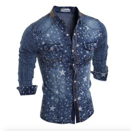 Camisa magro do denim dos homens on-line-Atacado 2017 New Moda Denim Jeans shirt Casual Men Cotton Slim Fit Marca camisas de manga longa Mens Cowboy shirt Camisa Jeans Masculina