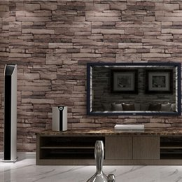 Wholesale Plastic Rolls For Waterproofing - Wholesale-3D Modern PVC Wood Stone Brick Wallpaper for walls 3 d Luxury Classic Vintage Living Room Background Wall Decor papel de parede