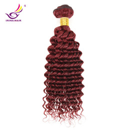 Wholesale Malaysian Red - Red Hair Extensions 99j Deep Curly Virgin hair 1pc Brazilian Peruvian Malaysian Indian Wholesale Brazilian Human Hair Weave Bundles