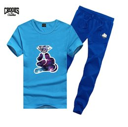 Wholesale Men Crooks T Shirt - s-5xl Free shipping 2017 new men Leisure Crooks and Castles T-Shirt and long pants suit o-neck Elastic waist