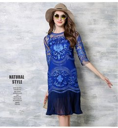 Wholesale Net Sheer Sleeve Dresses - 2016 Summer Women Europe and the United States net yarn embroidery stitching pleated waist drawdown dress Hot Sale