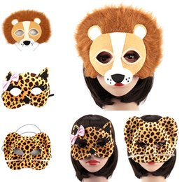 Wholesale Leopard Halloween Mask - Wholesale-1 Pcs Halloween Party Animal Masks Cosplay Masque Costume Accessory Panda Fox Lion Leopard Wolf Event Party Supplies