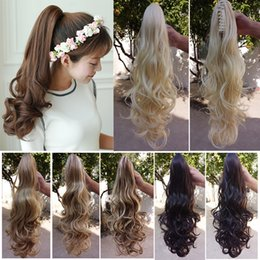 Wholesale Wholesale Fake Hair Ponytail - Wholesale- 190g ponytail hairpieces drawstring fake ponytails claw clip curly Hair Extension blond ponytail Hairpiece fake Hair Tress