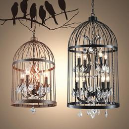 Candelabros jaula de pájaros online-Loft Vintage American Rural araña creativa tienda de ropa restaurante hierro colgante luz cristal decorar jaula de pájaro lámpara colgante