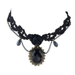 Wholesale Black Lace Rose Necklace - Black Gothic Lace Choker Tattoos Choker Necklace Rose Water Drop Charm Necklace Women Accessories Bijuteria