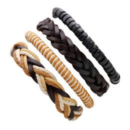 Wholesale Womens Brown Leather Bracelets - Best Selling High Quality Simple Thin Womens Leather Bracelet Brown Black Wristband Cuff Multistrand Wrap Bracelet Girlfriend Gift LB030
