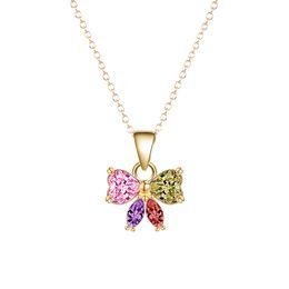 Wholesale Tie Chain Design - 10pcs lot New Simple Design 18k Gold Plated Elegant Bow Tie Shape Colorful Cubic Zirconia Pendants & Necklaces Christmas Gift