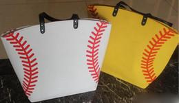 Wholesale Wholesale Fabric Totes - USA black & white &yellow Blanks Cotton Softball Tote Bags Baseball Bag Football Bags Soccer ball Bag with Hasps Closure Sports Bag
