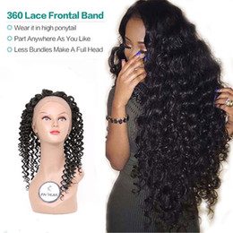 Wholesale Brizilian Curly - Peruvian Brizilian Indian human virgin hair weave body deep kinky curly wave straight 360 lace frontal