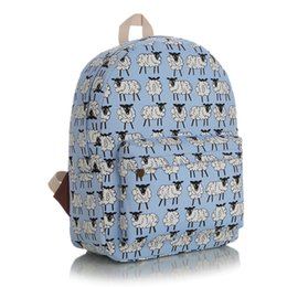 Wholesale blue bag sheep - Wholesale- pink and blue cute carton sheep canvas backpack fashion leisure large capacity for teens schoolbag waterproof travel bag