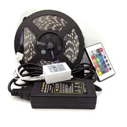 Wholesale 24 Dc Power Supply - Edison2011 5050 SMD RGB LED Strip Light 300 Leds Waterproof + 24 key IR Remote Controller+ Power Supply (12V 5A)