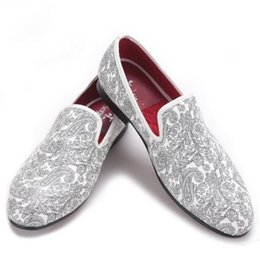 Wholesale Daily Dress - 2017 AW New Design Paisley Prints Men's White Casual Smoking Slipper Easy to Wear Loafer Which Suitable for Daily Banquet Party