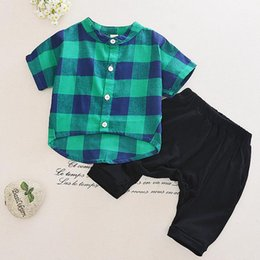 Wholesale middle child clothing - Baby Boys Clothing Set 2017 Summer Kids Plaid Shirt + Middle Harem Pants 2pcs Children Clothing Suit Boy Outfits Sets 13166