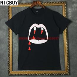 vampire t shirts Promotion Européenne 2017 sang vampire dents dents de vampire T-shirt TEE droit Zhilong même paragraphe coton casual lâche T-shirt