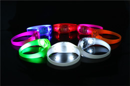Wholesale Sound Activated Novelties - Voice Activated Sound Control Led Flashing Silicone Bracelet Light up Wristband Club Party Bar Disco Night Activity Novelty Gift