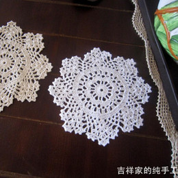 Wholesale Flower Pics Pink - Wholesale- Free shipping 5 pic lot ZAKKA snow flowers lace crochet doilies 20 cm round coasters vase mat pot holder as for dinning table