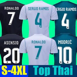 Wholesale Soccer Jersey Blue White - Thai AAA Camisa Real madrid jersey 2018 RONALDO soccer jerseys 17 18 sergio ramos maillot de foot BALE camisa ASENSIO MODRIC football shirt