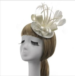 Wholesale Vintage Bridal Headdress - British Vintage Lady's Flax-Feather Top Hat Dinner Party Party Wedding Party Bridal Hat Headdress