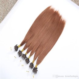 Wholesale Micro Loop Remy Peruvian - Medium Auburn Micro Nano Ring Hair 100s lot 1g s Indian Human Remy Hair Extensions 100pcs Nano Rings Micro Loop Ring Hair Extensions