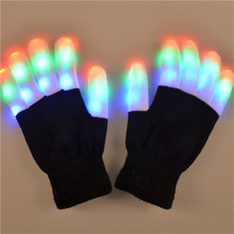 Wholesale Led Lighted Gloves - LED Rave Gloves Mitts Flashing Finger Lighting Glove LED Colorful 7 Colors Light Show Black and White