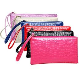 Wholesale Coin Purse Makeup Bag - Wholesale- Women's Coin Purse Clutch Wristlet PU Leather Handbags Wallet Purse Card Phone Holder Makeup Bag Clutch Small Handbag