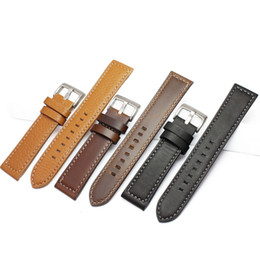 Wholesale Thick Leather Belts - HENGRC Newest 18mm 20mm 22mm Genuine Leather Watchband Belt Manual Men Thick Brown Black Watch Band Strap Buckle Accessories
