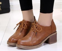 Wholesale Cattle Leather Shoes - Leather shoes female college wind with cattle tendon at the end of retro with the track with the new shoes Korean women spring and autumn