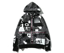 Wholesale Newspaper Sleeves - Supre Men's Hoodies Latest design English newspaper shading webbing men and women with aape hooded sweater hip hop kanye yeezus coat