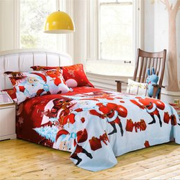 Wholesale king size santa claus bedding - Wholesale- 3D Santa Claus Christmas Bedding Set Kids Girl Queen Size Duvet Cover Bed Sheet Bedspread 2 Pillowcases Home Interior Decoration