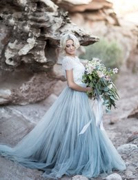 Wholesale Colored Plus Wedding Dresses - 2017 Bohemian Colored Wedding Dresses Short Sleeve Jewel Neck A Line Soft Tulle Cap Sleeve Boho Lace Light Blue Bridal Gowns